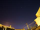 A la derecha Orión. El punto más luminoso es Júpiter. <br> <br> (16mm + ojo de pez)