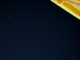 Júpiter arriba (el más brillante). Abajo de izquierda a derecha: Constelación de Orión, Aldebarán, y las Pléyades. <br><br> (16mm)